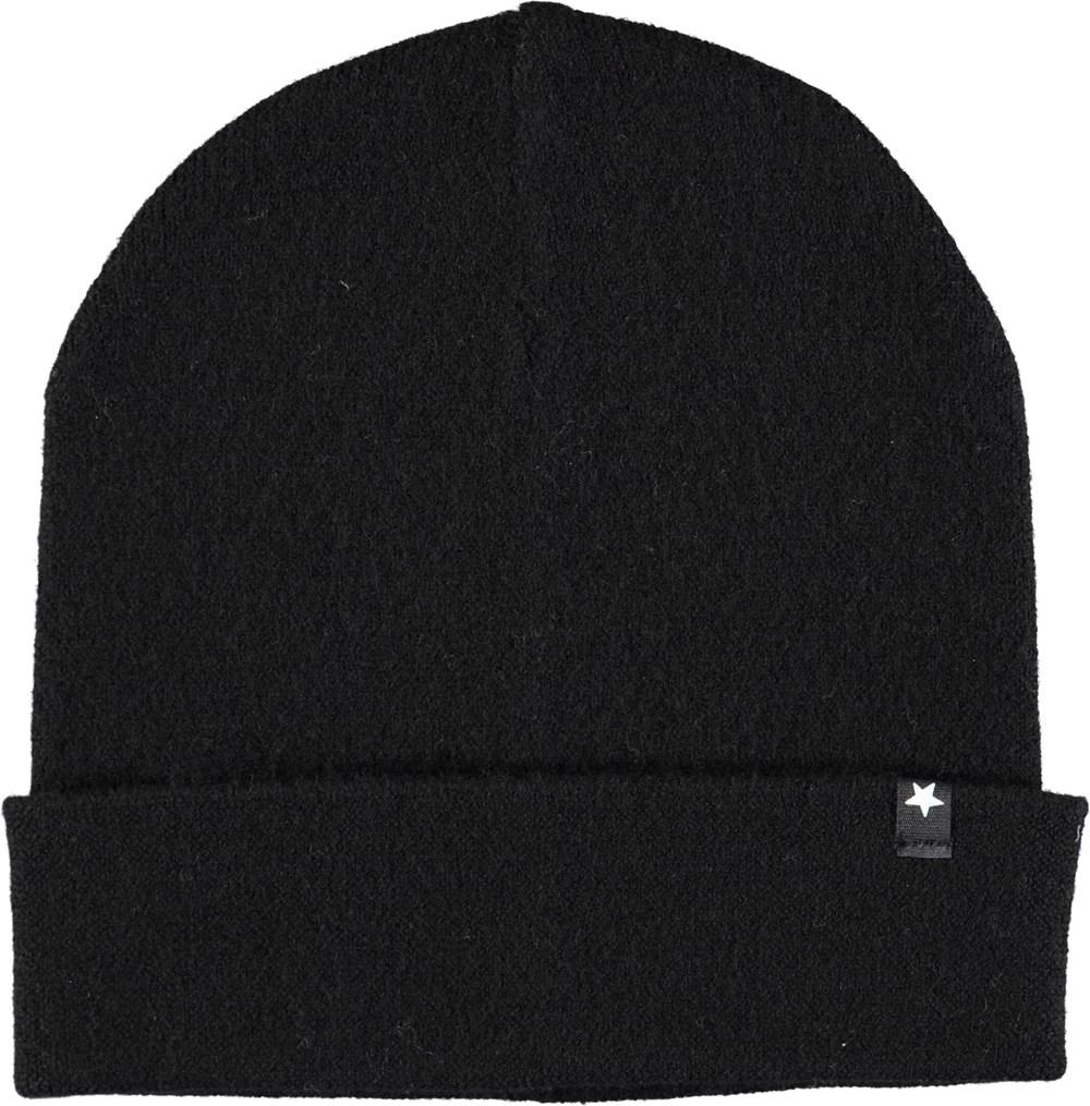 Kalani - Black - Black wool hat with roll up