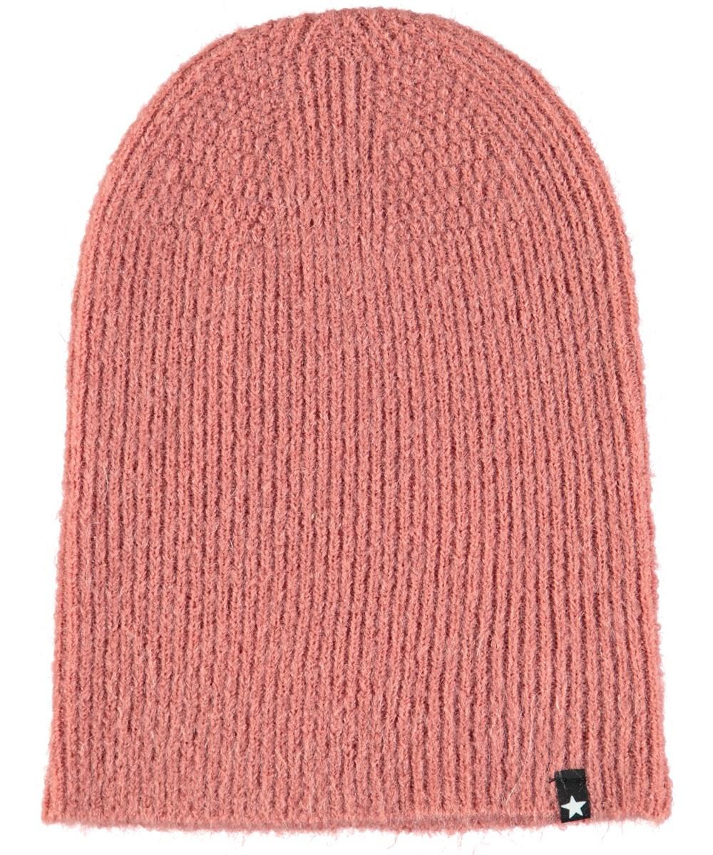 Kara - Blush - Dark rose, fuzzy hat in wool blend