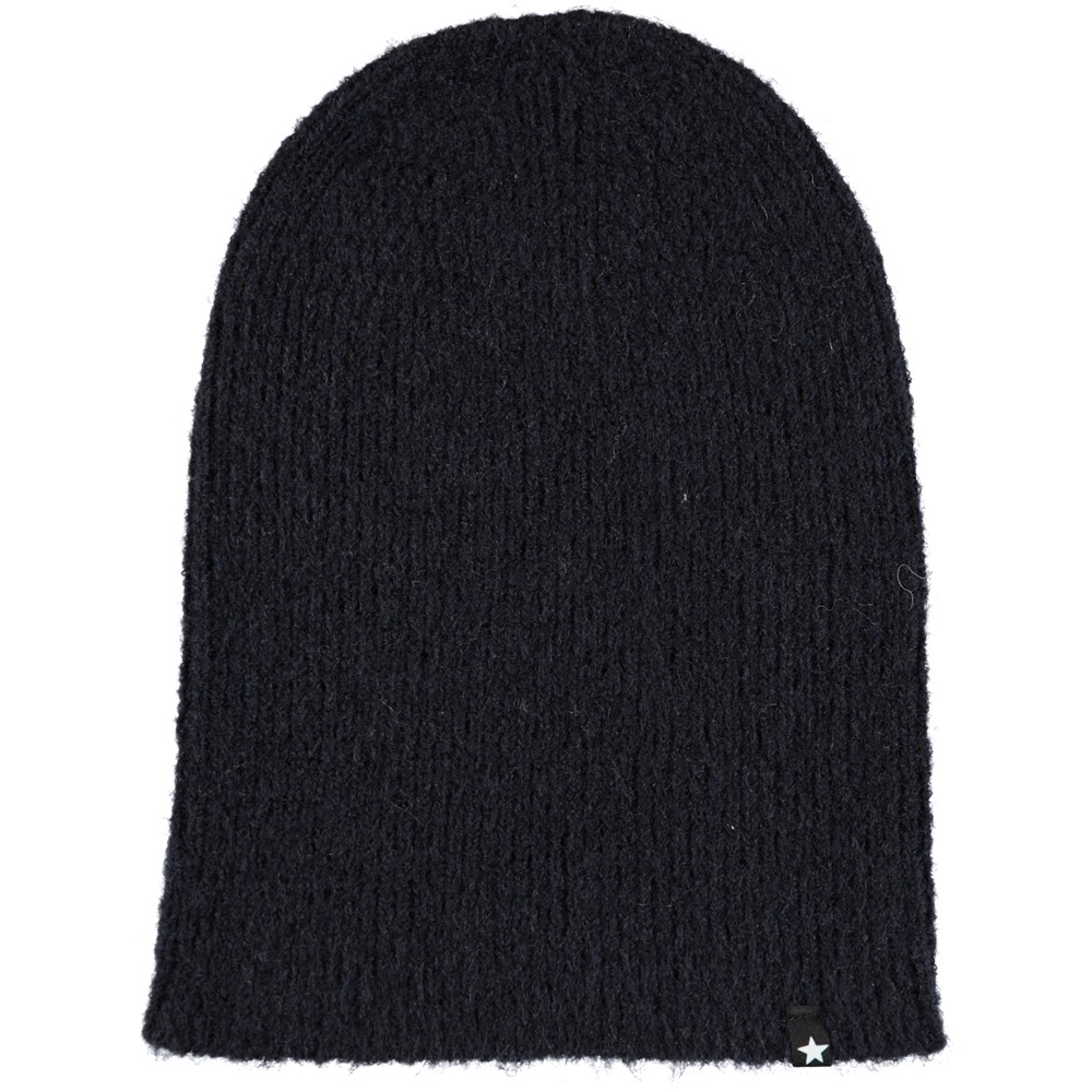 Kara - Evening Blue - Dark blue, fuzzy hat in wool blend