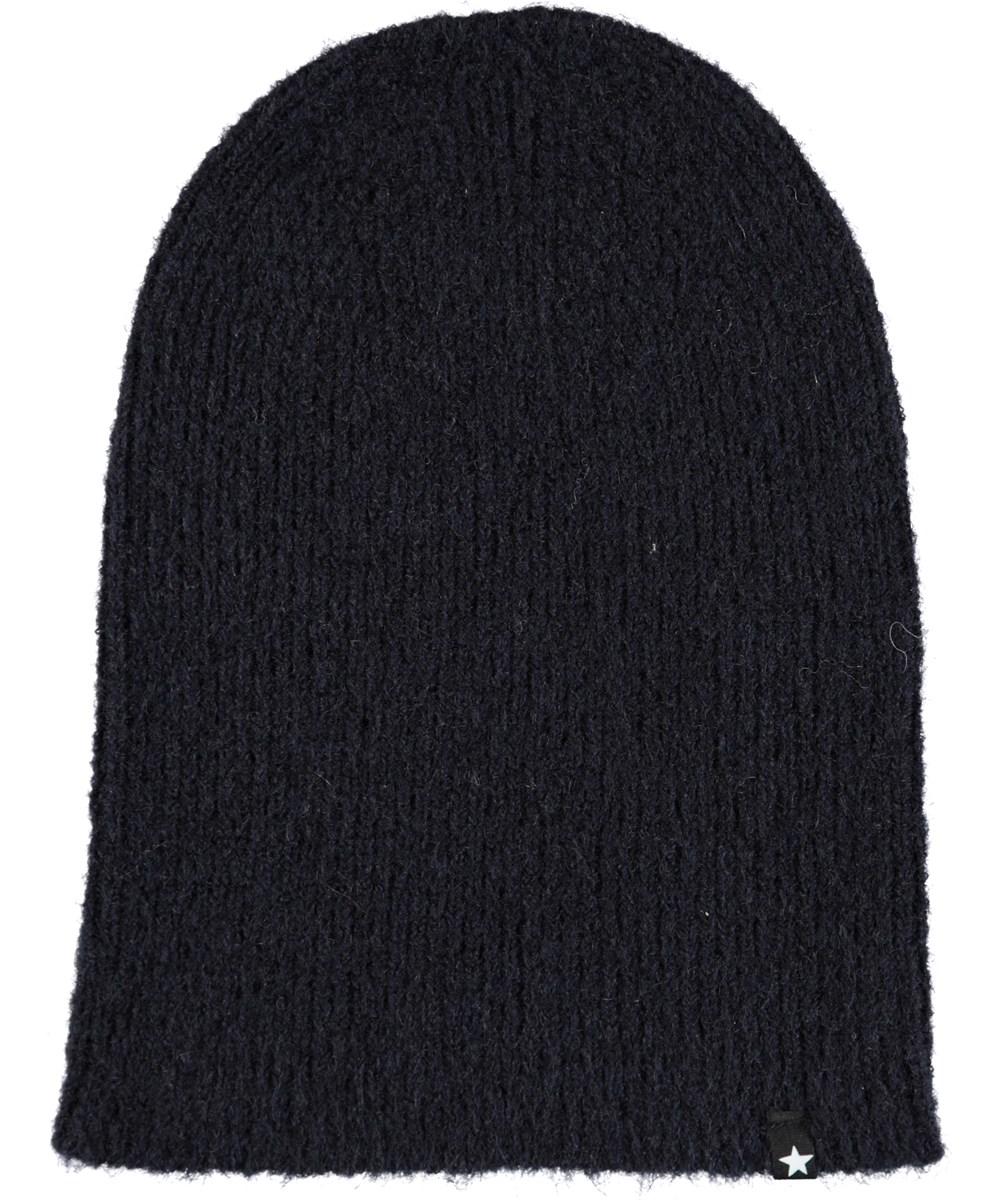 Kara - Evening Blue - Dark blue, fuzzy hat in wool blend