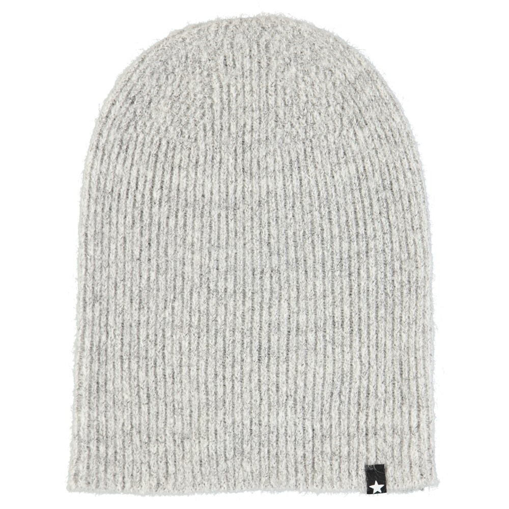 Kara - Smokey Grey - Grey, fuzzy hat in wool blend