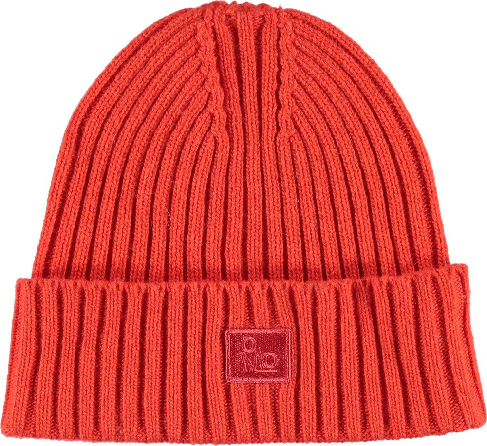 Karli - Fiery Red - Cable knit red hat.