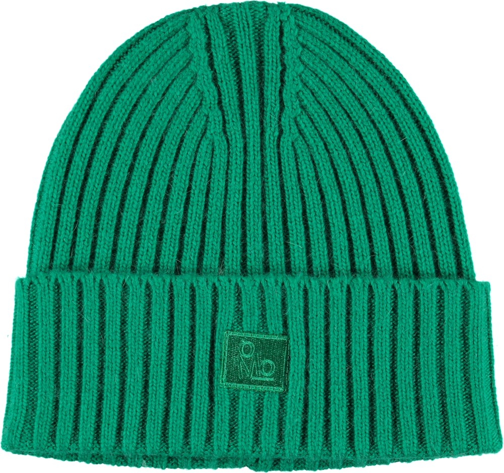Karli - Total Green - Cable knit green hat.