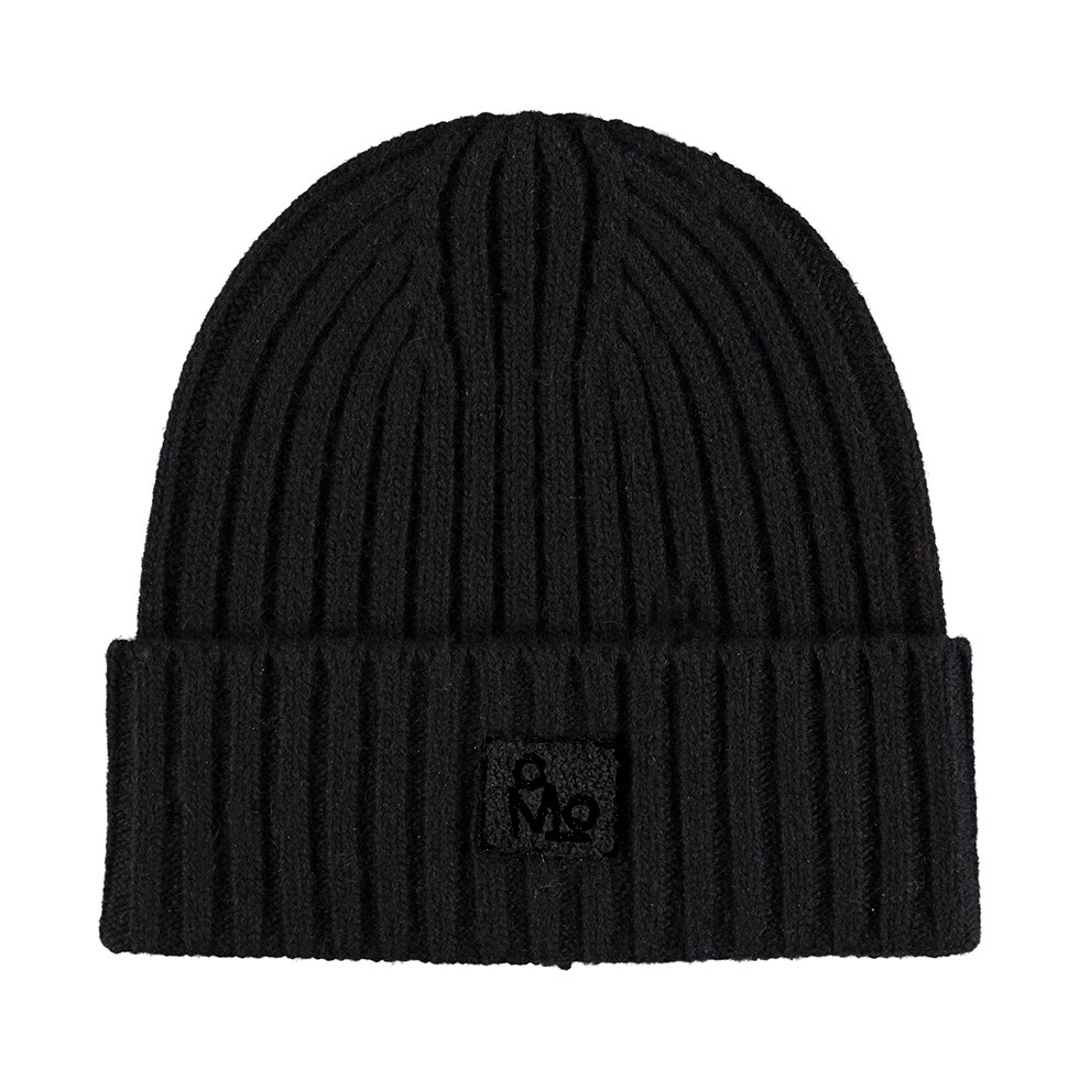 Karli - Very Black - Black cable knit hat in a wool blend