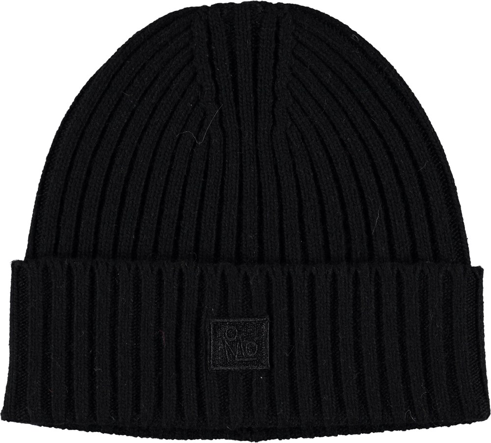 Karli - Very Black - Cable knit black hat.