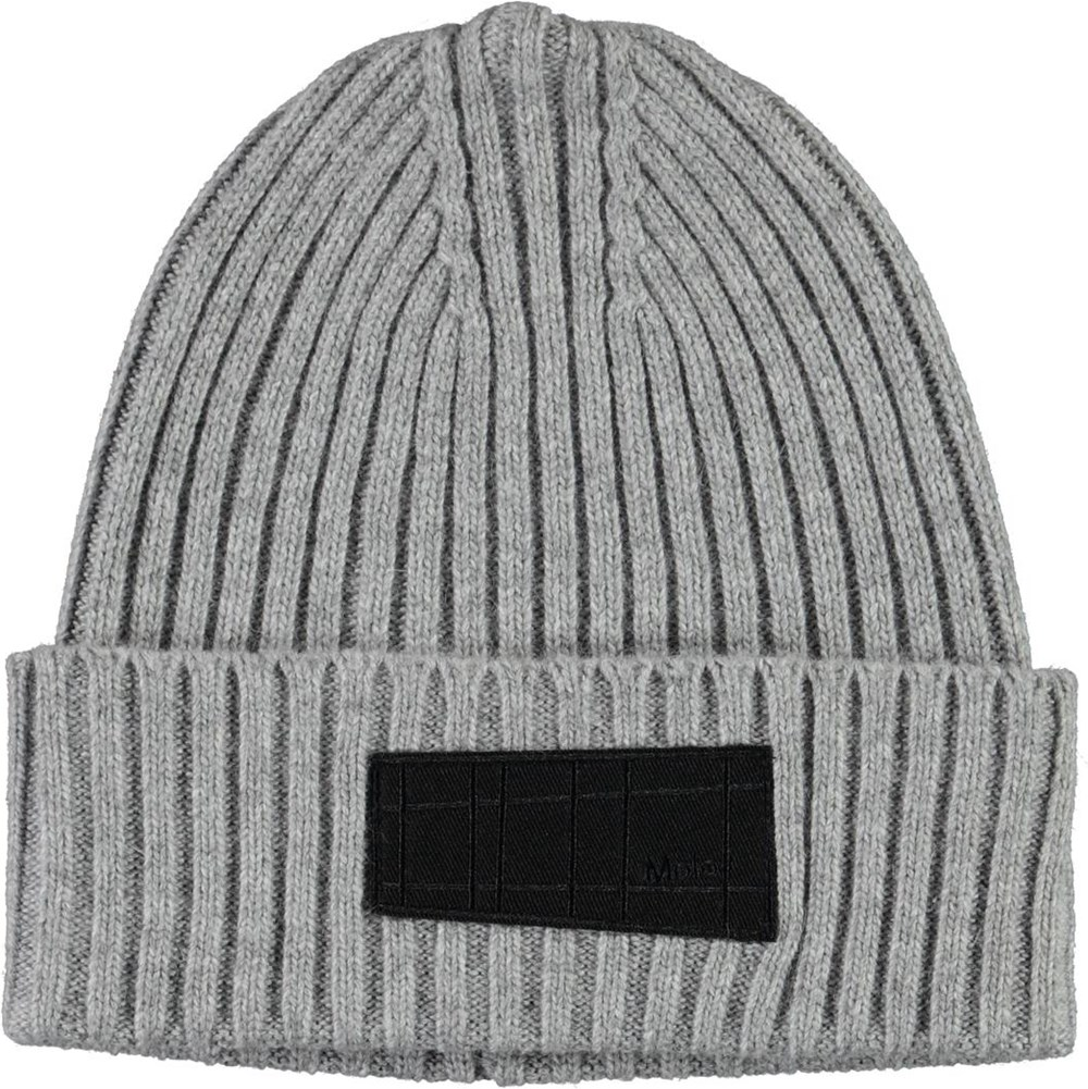 Karli - Warm Grey Melange - Cable knit hat in grey wool