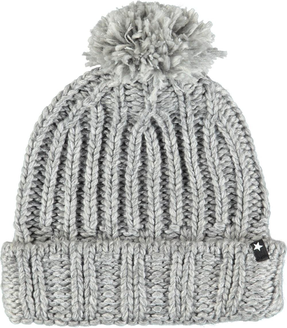 Kate - Grey Melange - Grey knit hat in a wool blend