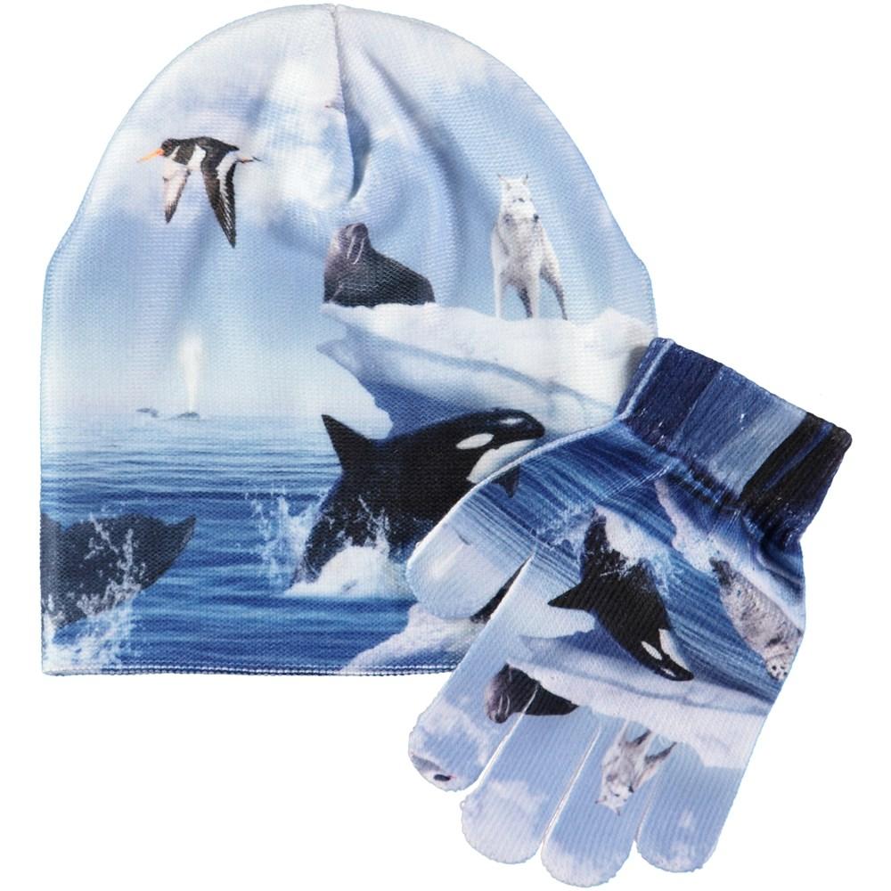 Kaya - Arctic Landscape - Hat and glove set with digital arctic landscape print