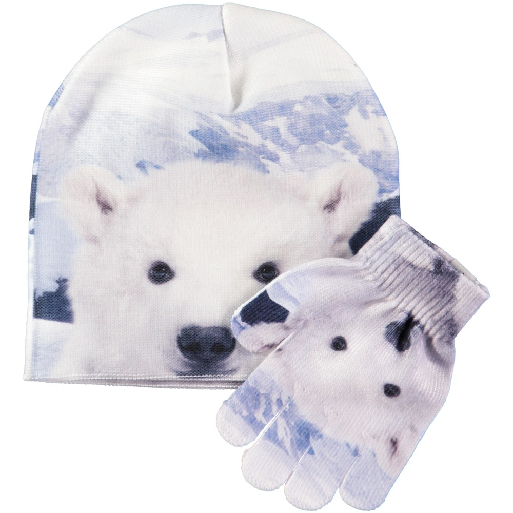 Kaya - Baby Polar - Hat and glove set with digital polar bear cub print