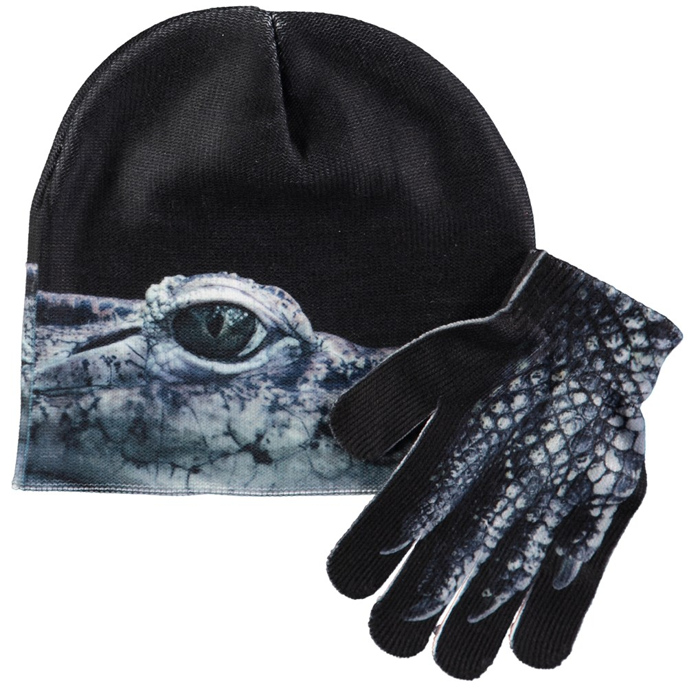 Kaya - Creatures - Hat and glove set with digital crocodile print