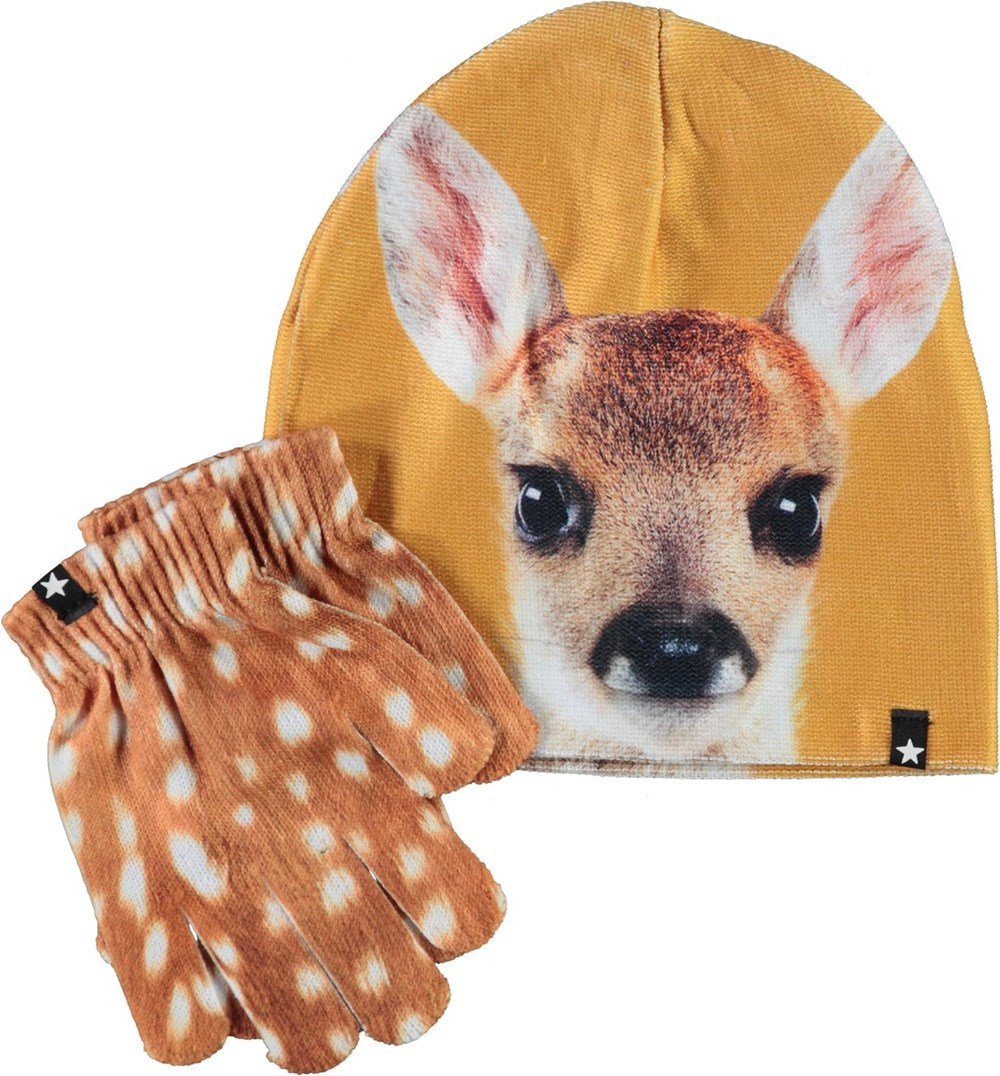Kaya - Fawn Face - Hat and gloves with deer