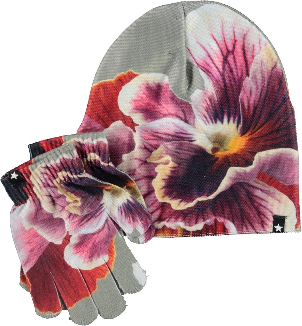 Kaya - Floral Zoom - Hat and gloves with floral print