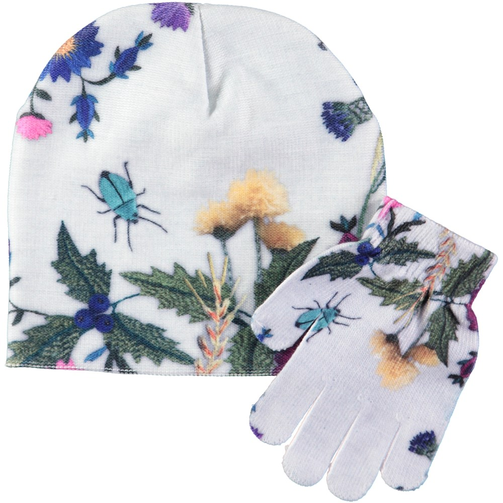 Kaya - Flower Embroidery - Hat and glove set with digital embroidered print