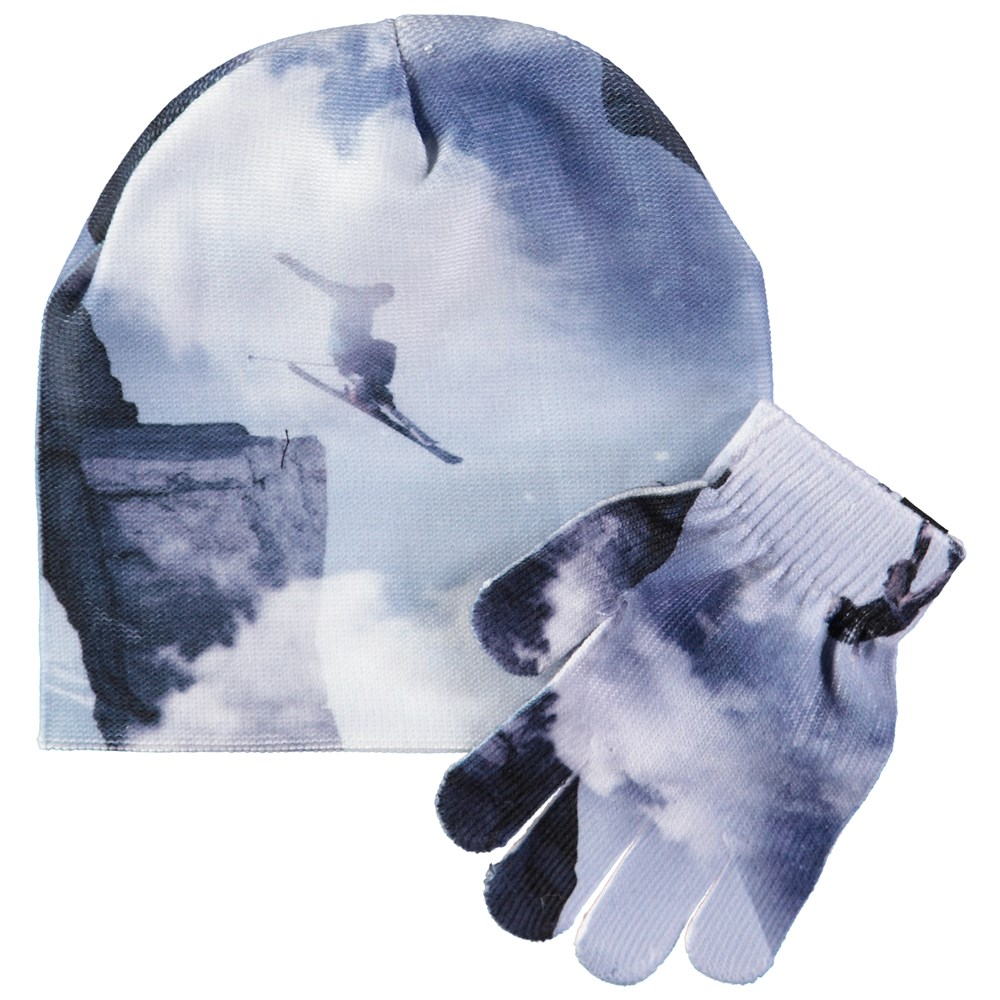 Kaya - High In The Sky - Hat and glove set with digital snowboarder print