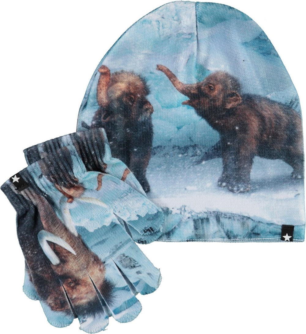 Kaya - Mammoth Baby - Hat and gloves with mammoths