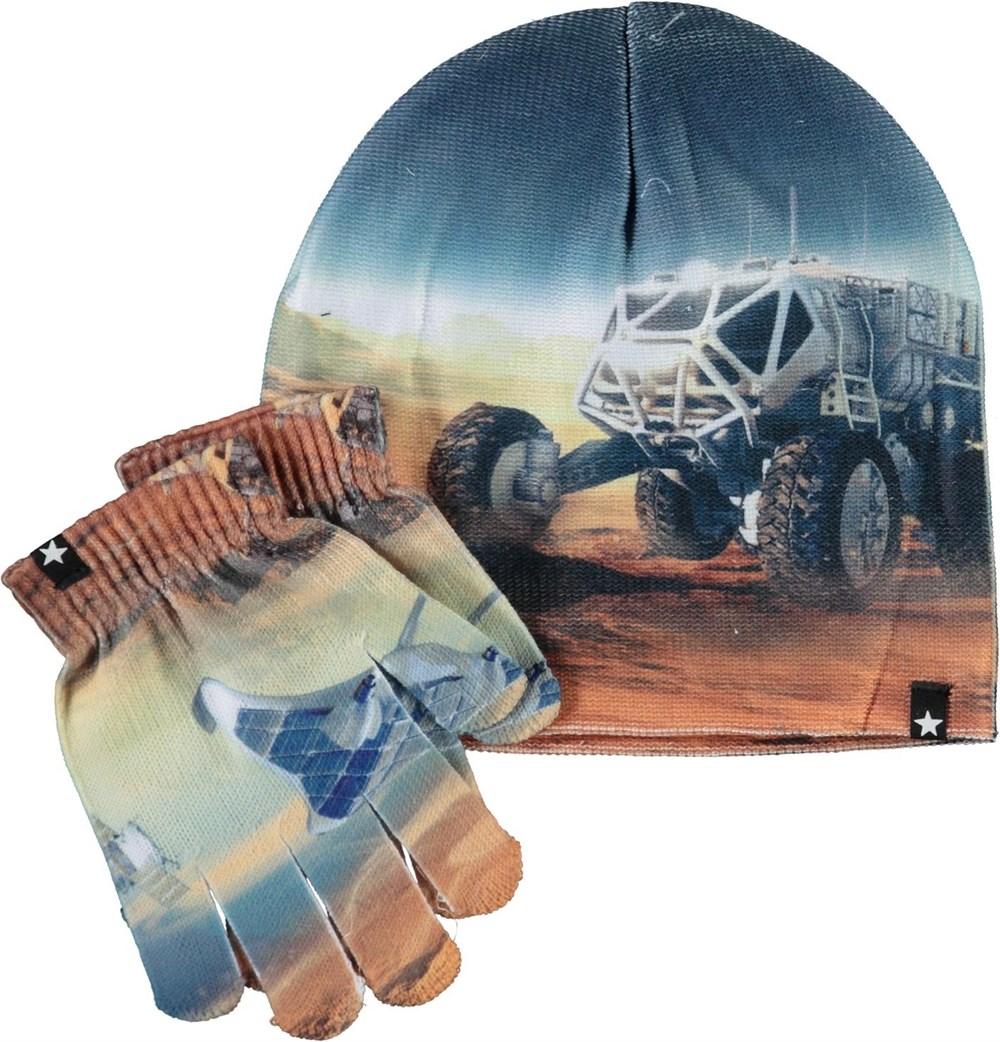Kaya - Mars Zoom - Hat and gloves with Mars print
