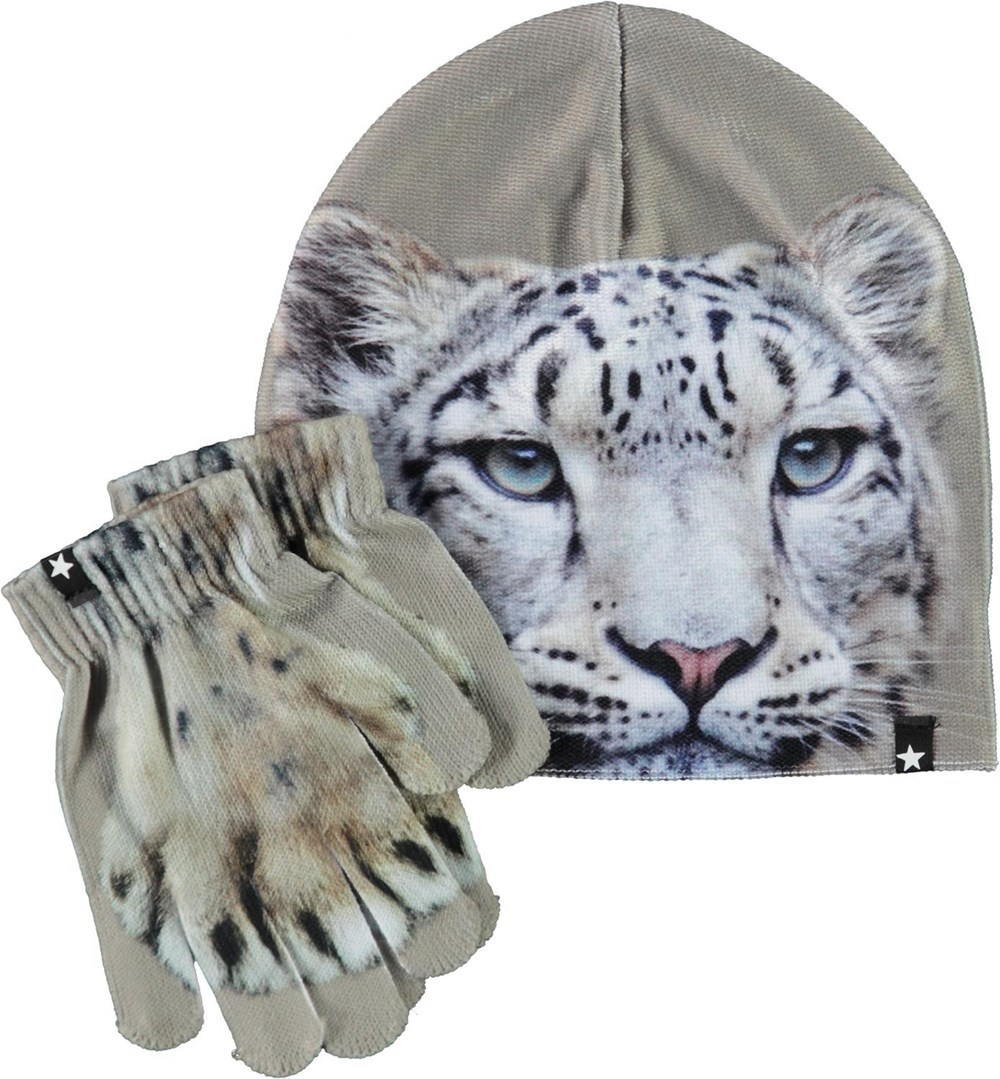 Kaya - Snowleo Face - Hat and gloves with snow leopards