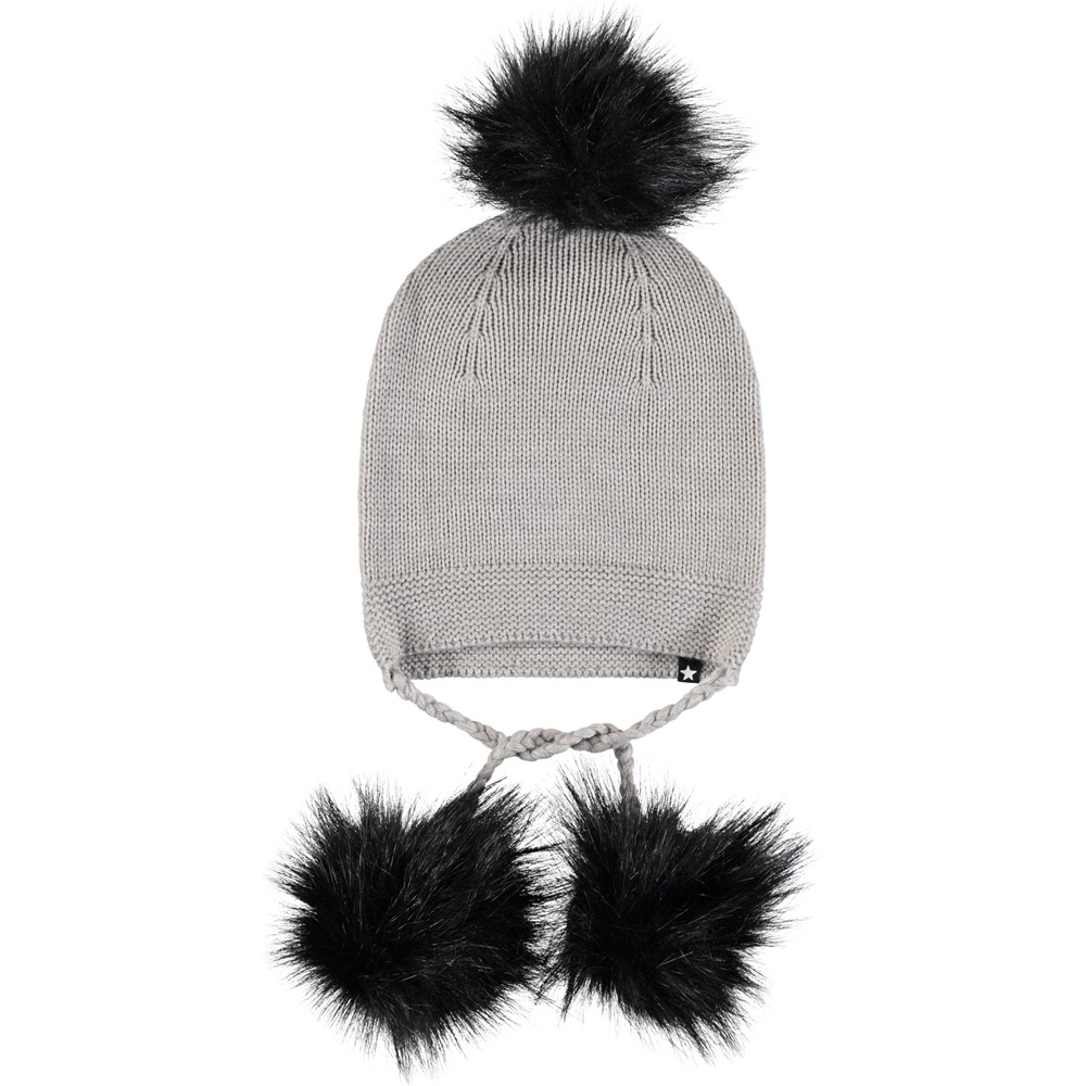 Keeli - Grey Melange - Grey knit hat in wool blend with ties and pom poms