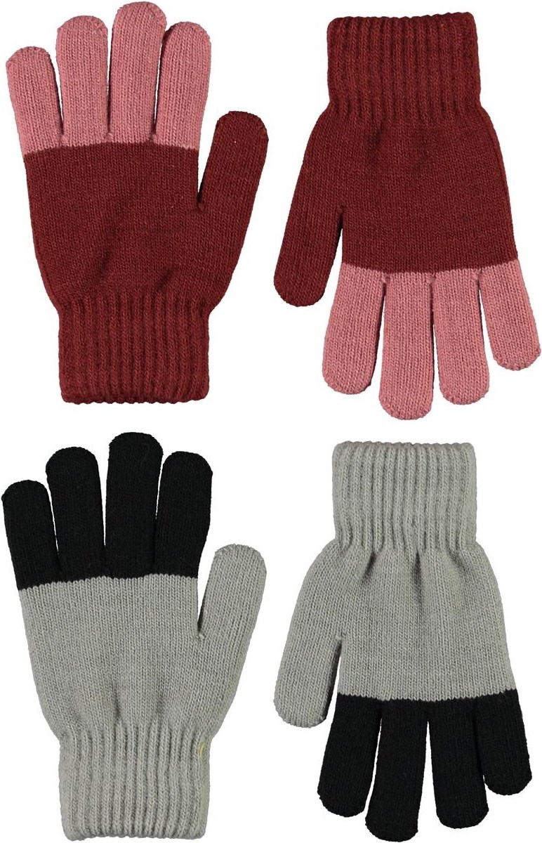 Keen - Rosewood - 2 pair knit gloves in red and grey