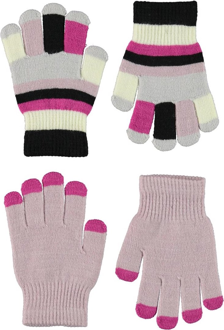 Kei - Blue Pink - 2 pair knit gloves in rose and striped