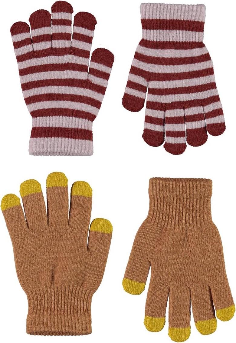 Kei - Deer - 2 pair knit gloves in beige and stripes