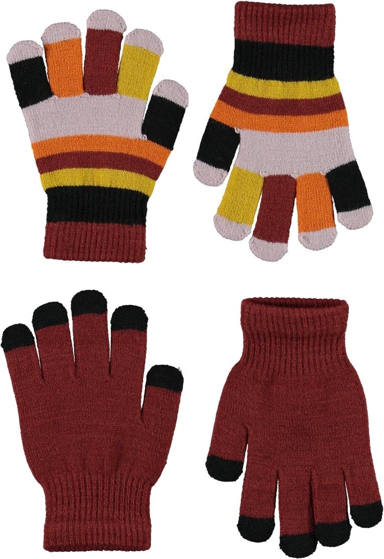 Kei - Rosewood - 2 pair knit gloves in dark red and striped