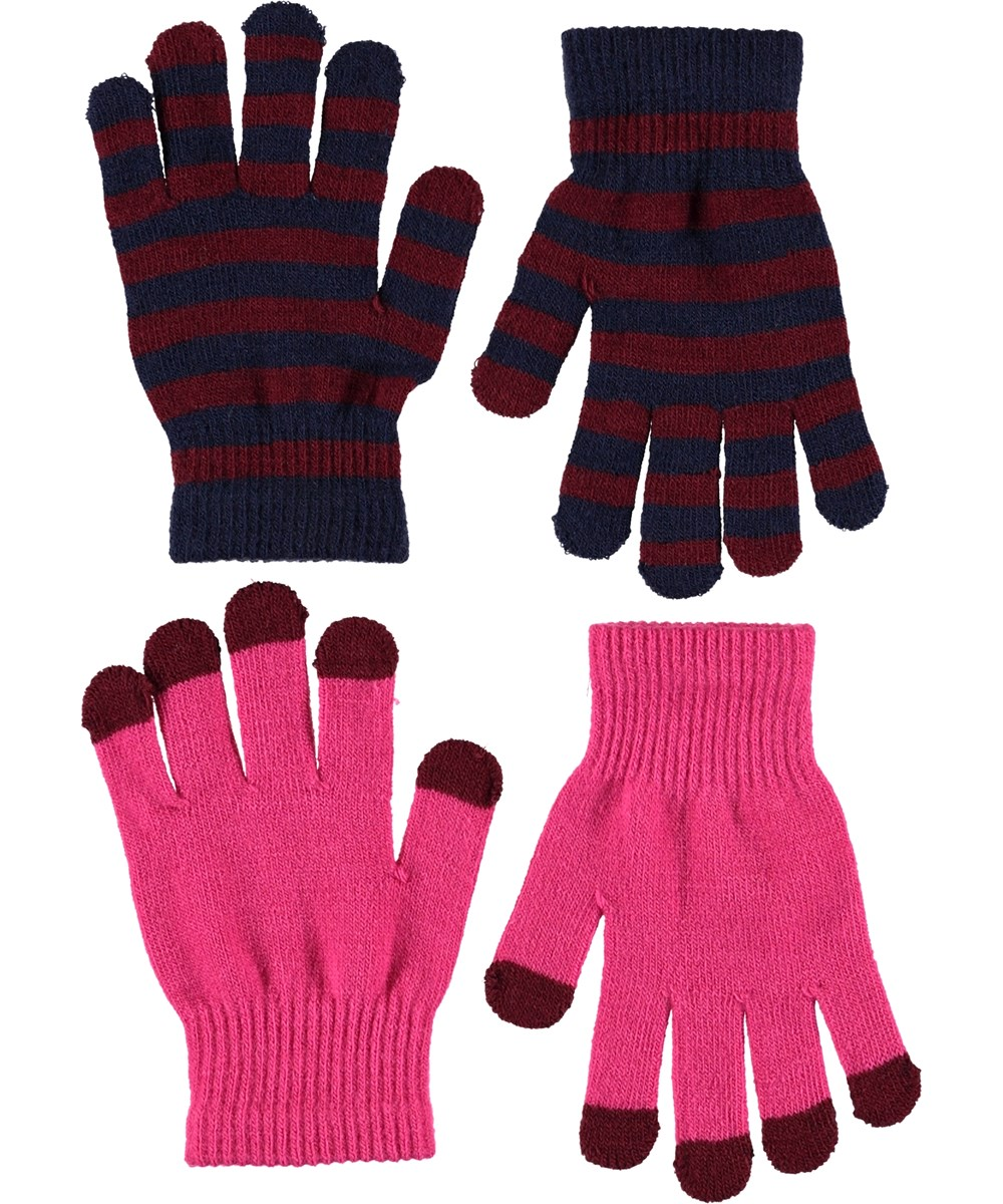 Kei - Disco Pink - Gloves in pink and stripes.