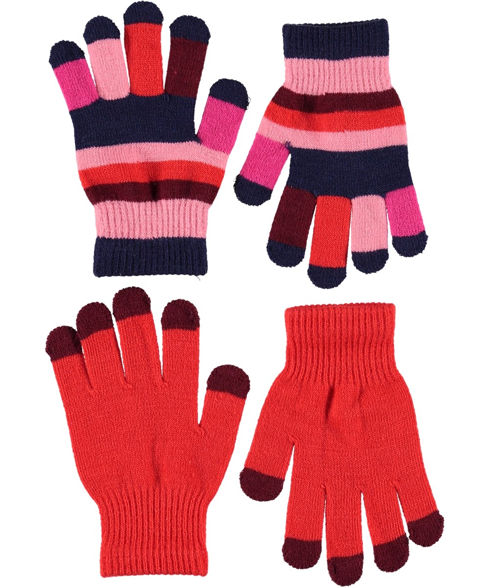 Kei - Fiery Red - Gloves in boardeux and stripes.