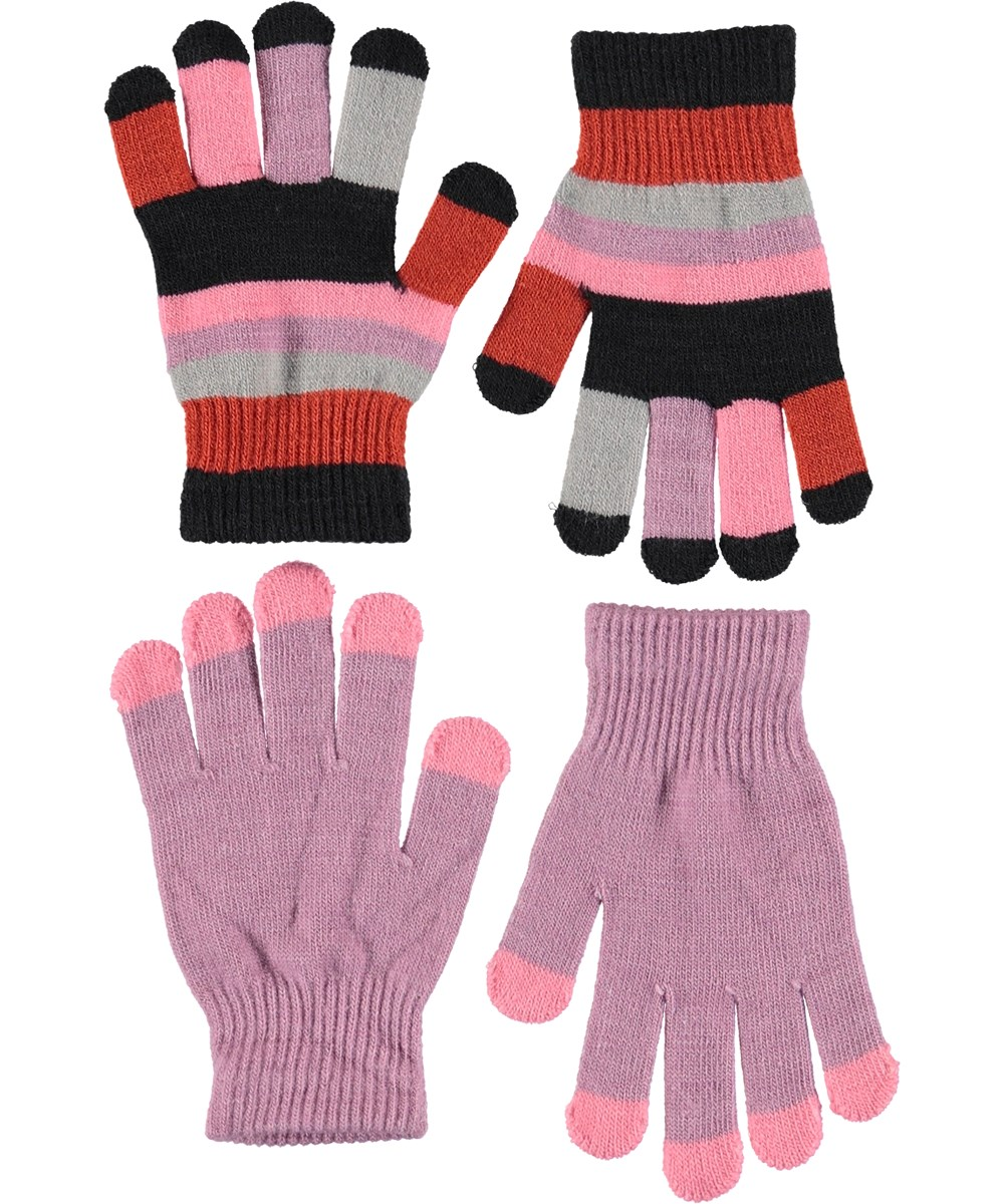 Kei - Star Dust - Gloves in light purple and stripes.