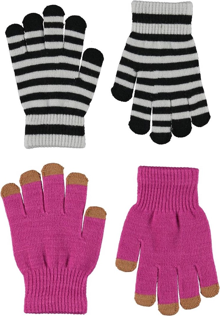 Kei - Wild Pink - 2 pair knit gloves in pink and stripes
