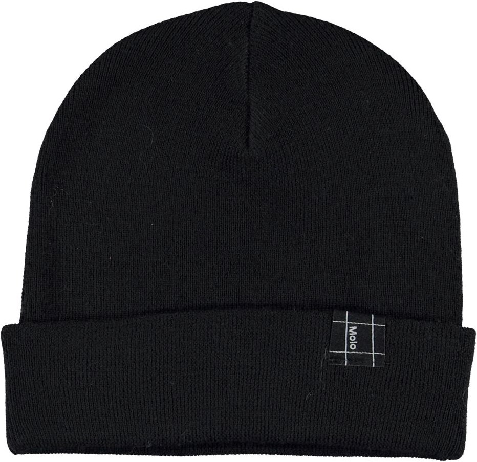 Keilo - Black - Black hat with roll up in merino wool.