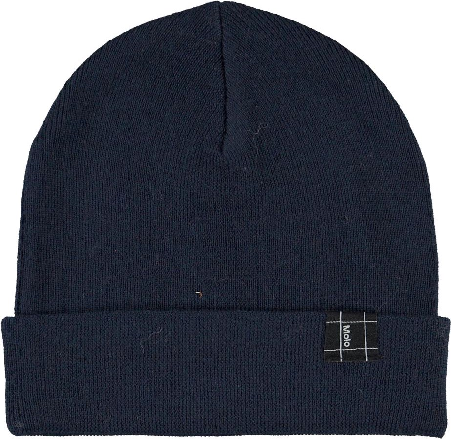 Keilo - Carbon - Blue hat with roll up in merino wool.