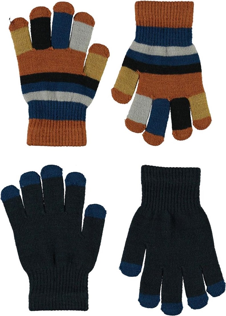 Keio - Carbon - 2 pair knit gloves in dark blue and stripes