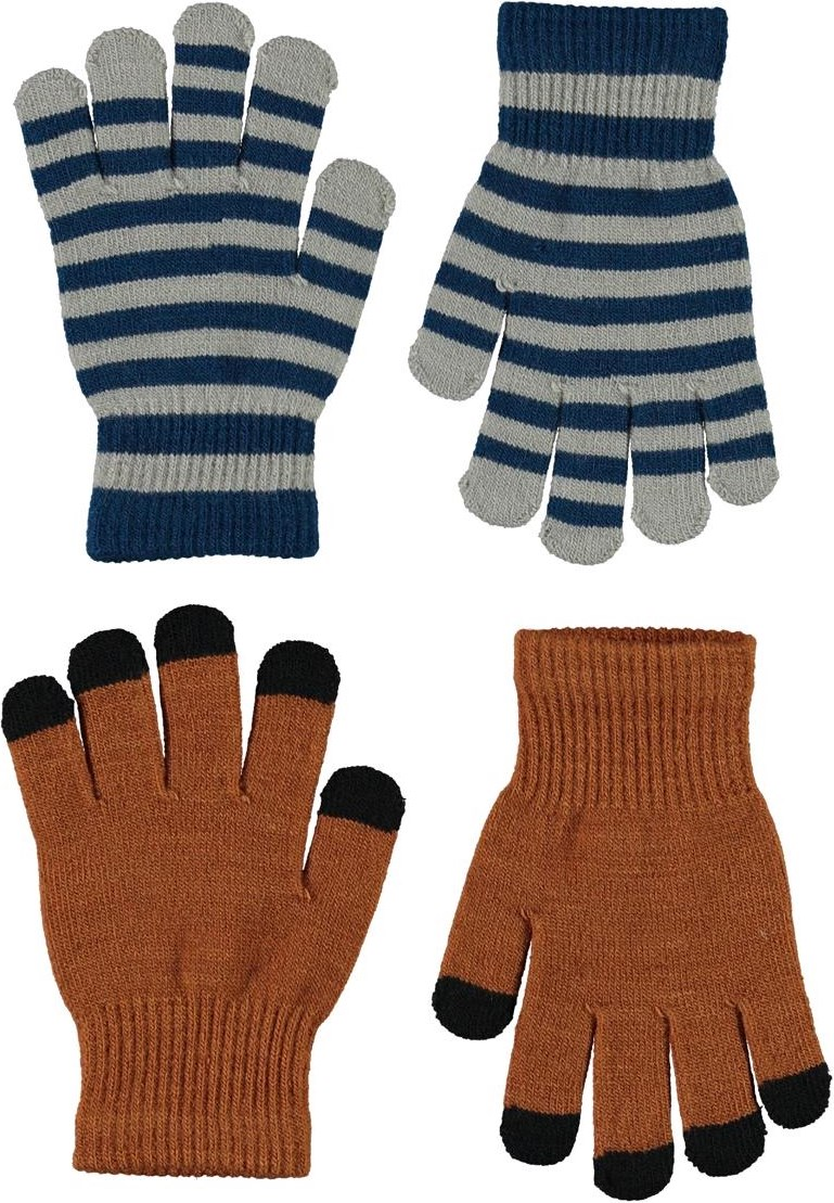 Keio - Iron - 2 pair knit gloves in brown and stripes