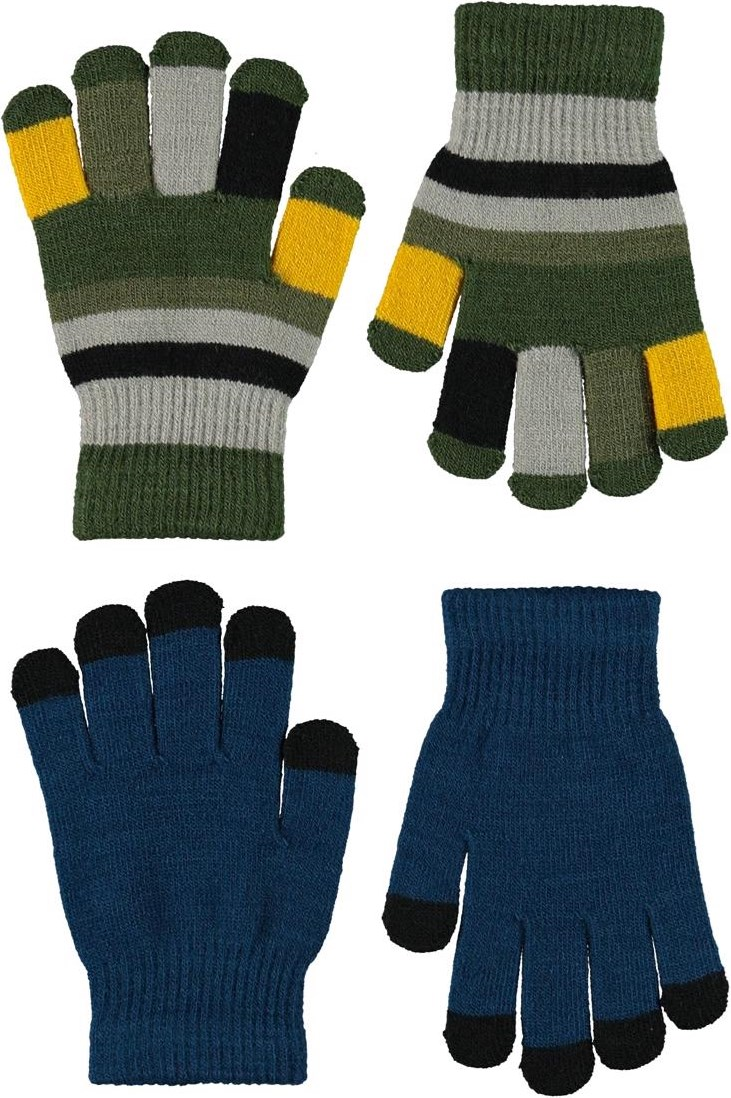 Keio - Sea - 2 pair knit gloves in blue and stripes
