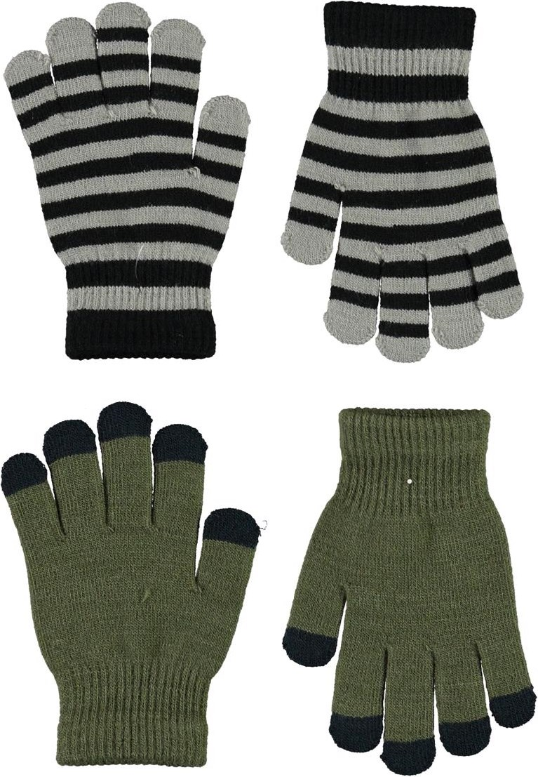 Keio - Vegetation - 2 pair knit gloves in green and stripes