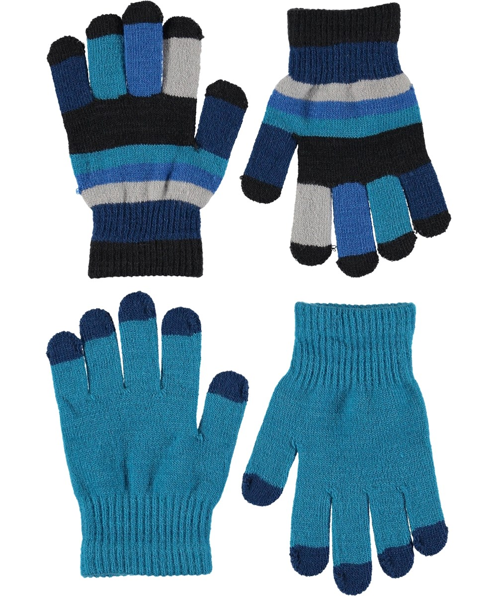 Keio - Frozen Blue - Gloves in turquoise and stripes.