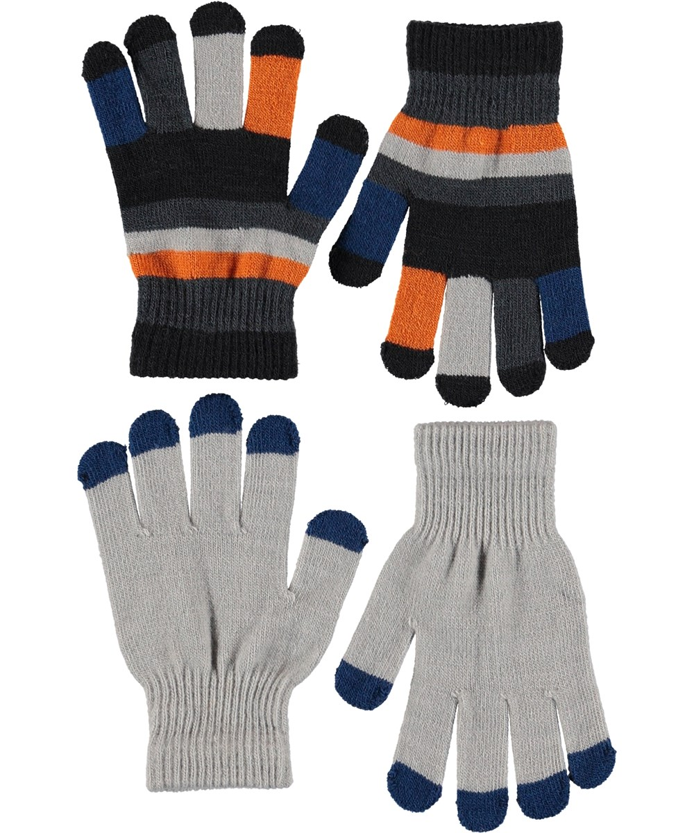 Keio - Grey Melange - Gloves in blue and stripes.