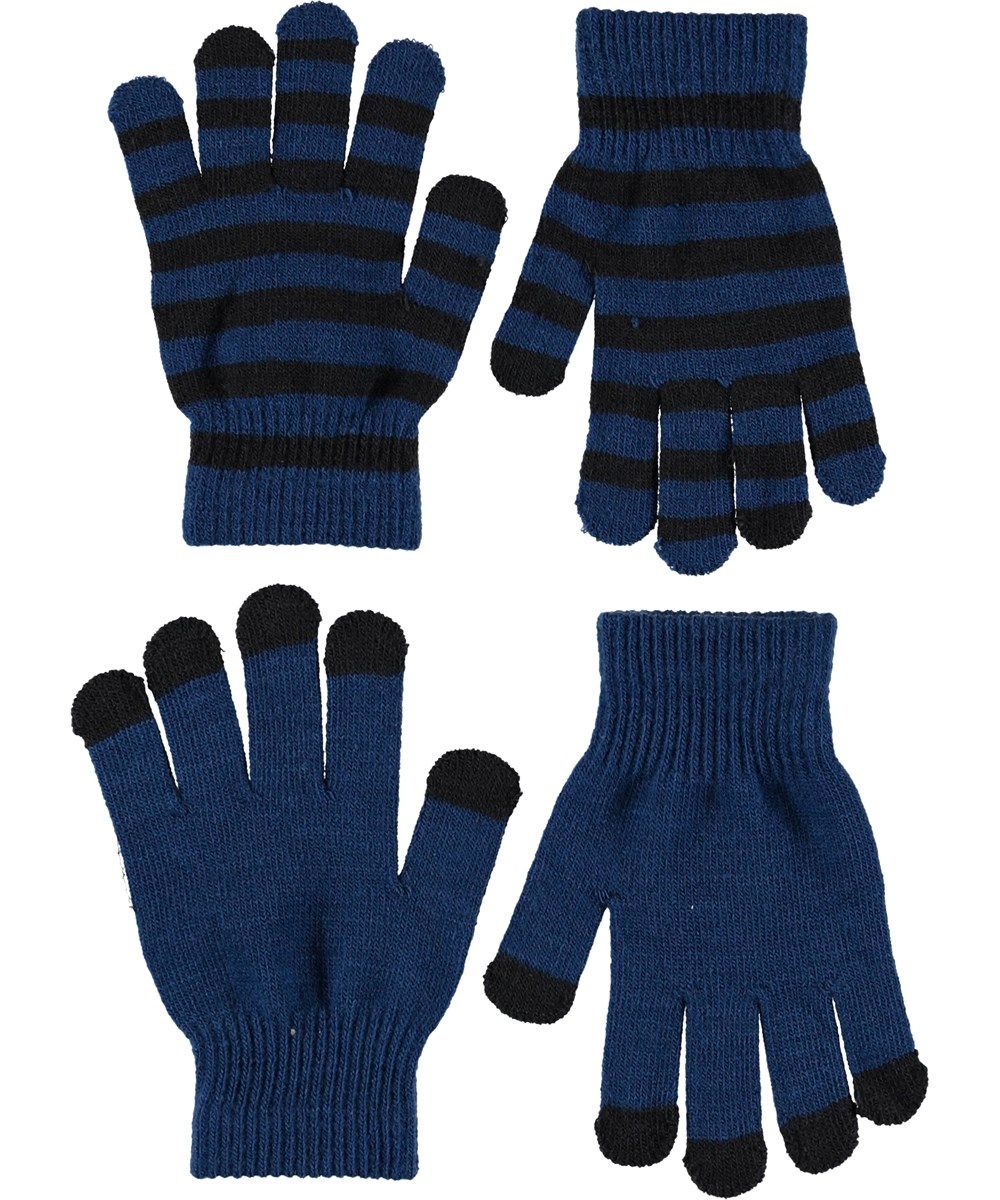 Keio - Ocean Blue - Gloves in blue and stripes.
