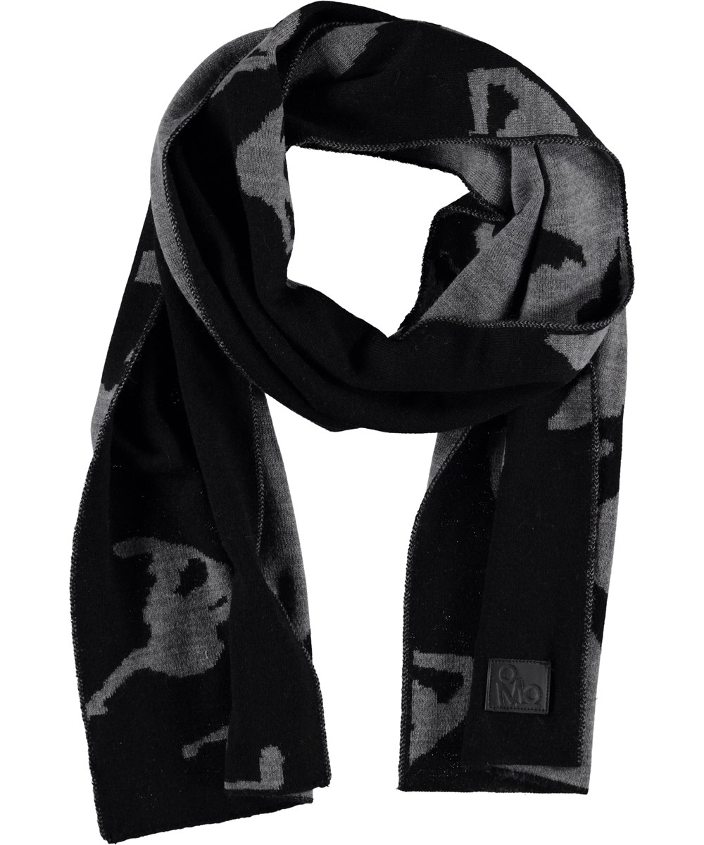 Kell - Graphic Sequence - Black scarf with snowboarders.