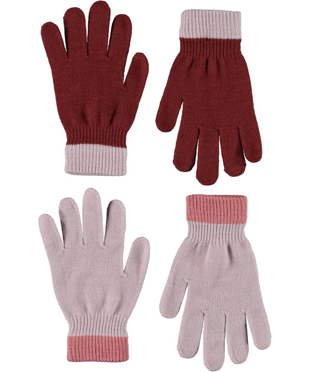 Kello - Blue Pink - 2 pair knit gloves in red and rose