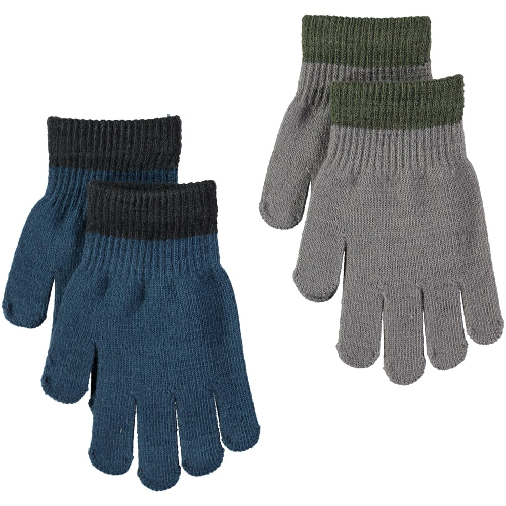 Kello - Blue Wing Teal - Two pairs of gloves in blue and grey