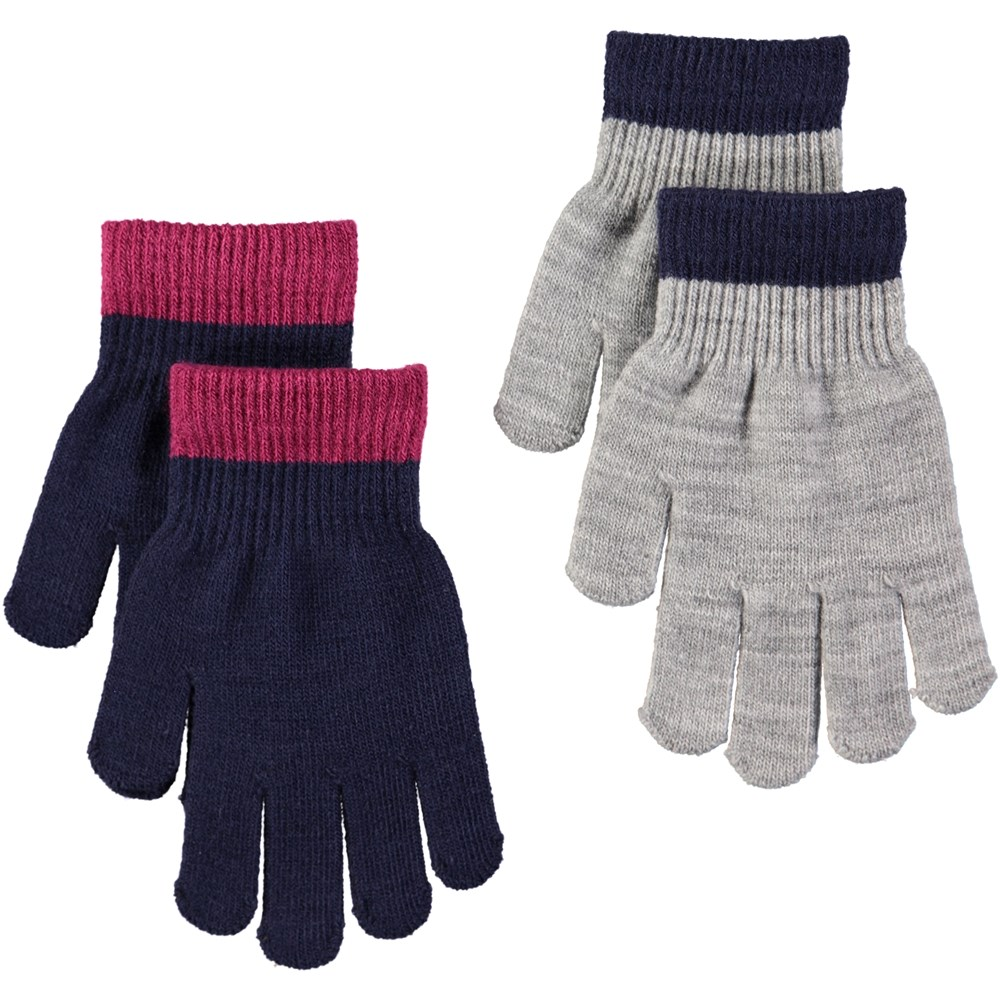 Kello - Evening Blue - Two pairs of gloves in dark blue and grey
