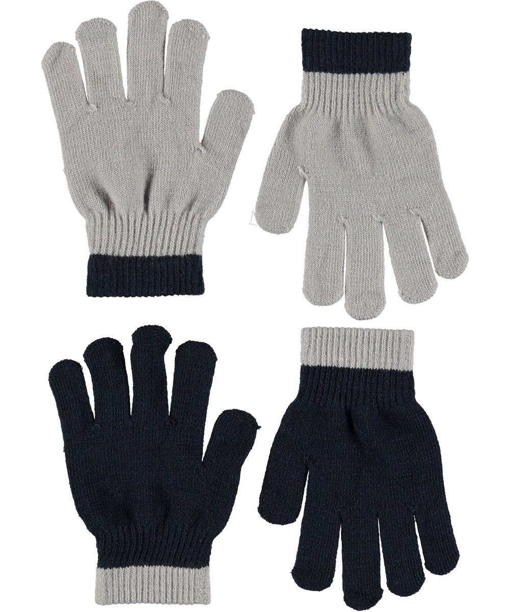 Kello - Grey Melange - Gloves in grey and black.