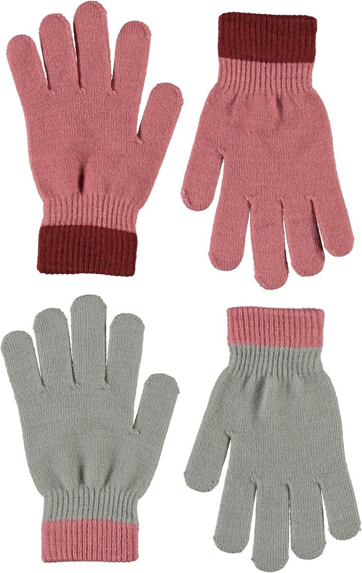 Kello - Maple - 2 pair knit gloves in pink and grey