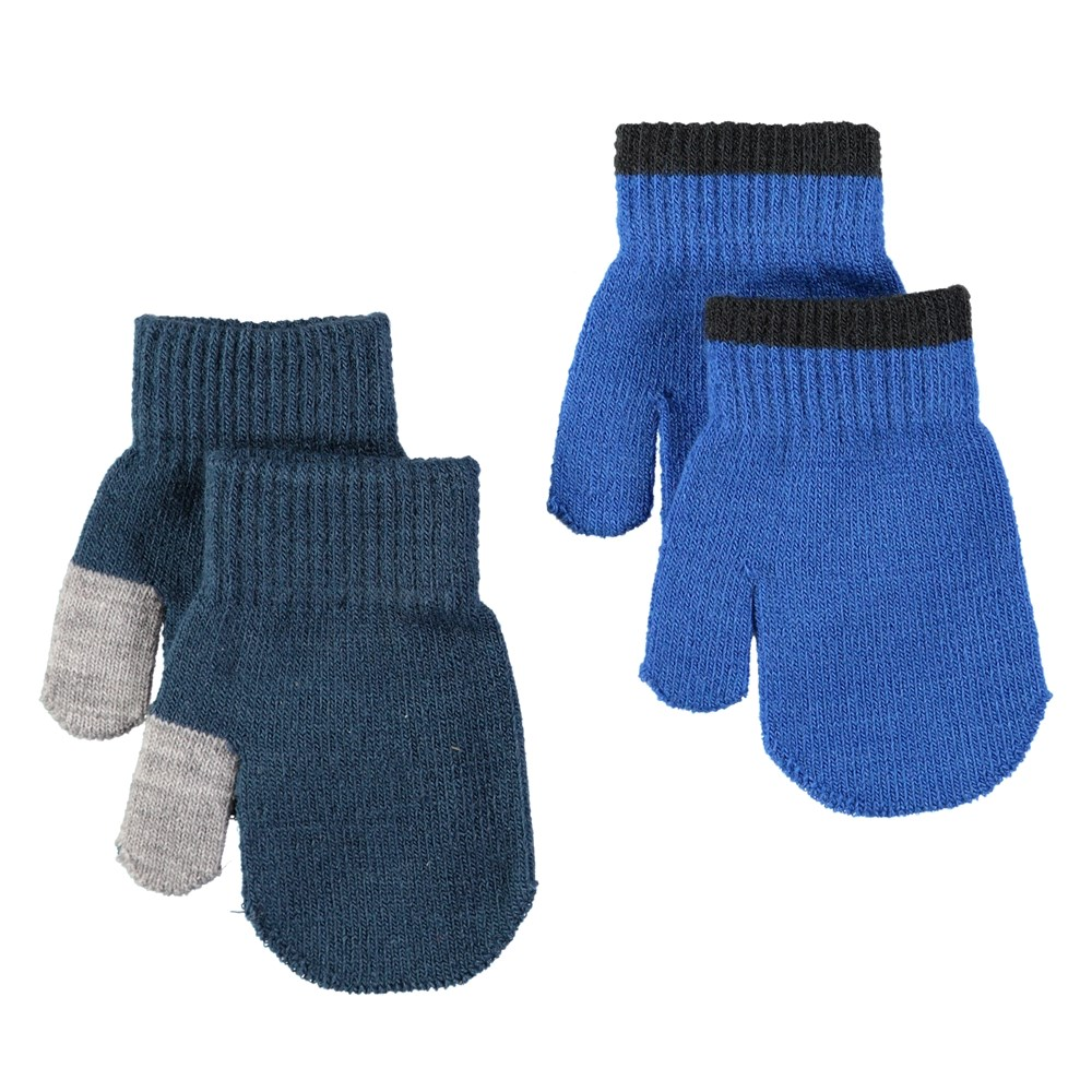 Kenny - Blue Wing Teal - Two pairs of baby mittens in royal blue and dark blue