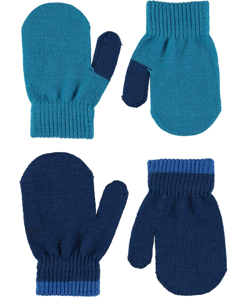 Kenny - Frozen Blue - Two pairs baby mittens in turquoise and blue.