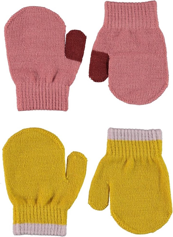 Kenny - Maple - 2 pair baby mittens in yellow and rose