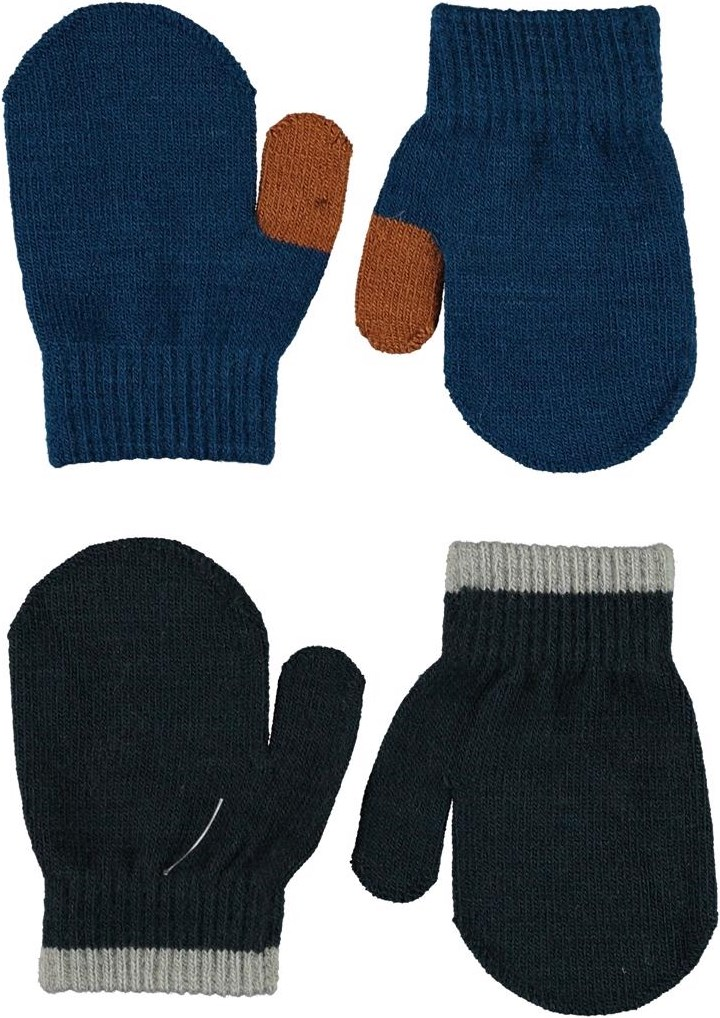 Kenny - Sea - 2 pair baby mittens in blue and black