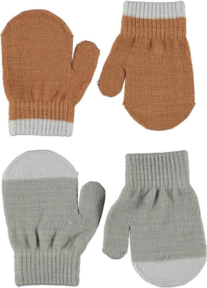 Kenny - Warm Grey Melange - 2 pair baby mittens in brown and grey